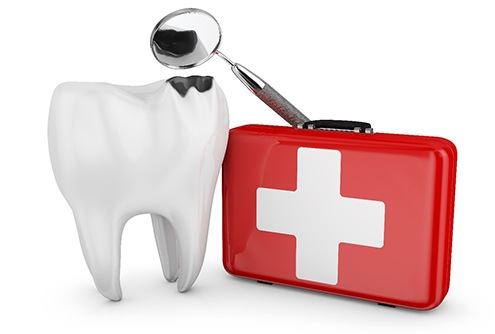 An animated image of a broken tooth, dental mirror, and first aid kit