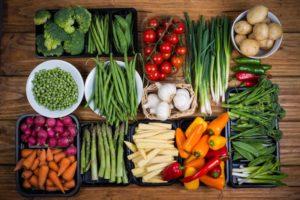 fresh vegetables neatly arranged on a table